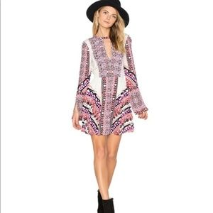NWT Free People Tegan Boarder Printed Mini Dress
